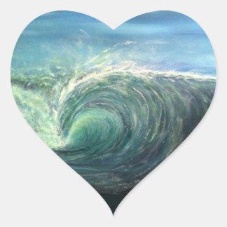 encalhe a onda, sala verde, onda do rasgo adesivo coração