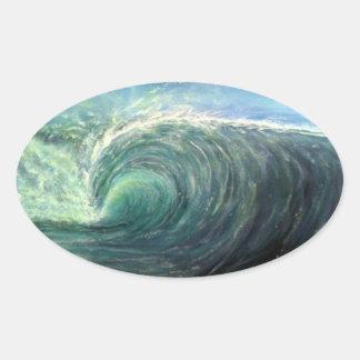 encalhe a onda, sala verde, onda do rasgo adesivo oval