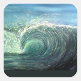 encalhe a onda, sala verde, onda do rasgo adesivo quadrado