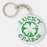 Encanto afortunado vintage verde/branco chaveiro