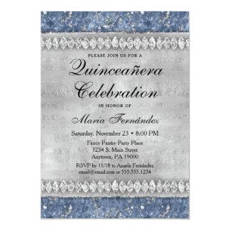 Encanto azul da prata do convite de Quinceañera