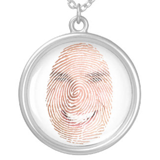 Encanto da lembrança da cara da impressão digital colar com pendente redondo