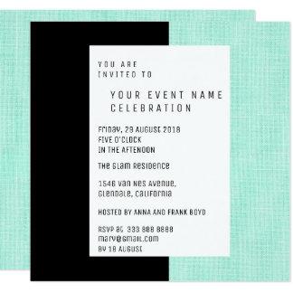 Encanto de linho geométrico mínimo preto verde da convite quadrado 13.35 x 13.35cm