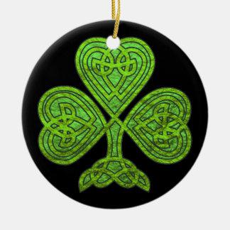 Encanto do dia de St Patrick celta afortunado do Ornamento De Cerâmica Redondo