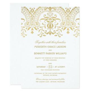 Encanto do vintage do ouro dos convites | do