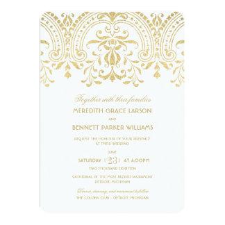 Encanto do vintage do ouro dos convites | do convite 12.7 x 17.78cm