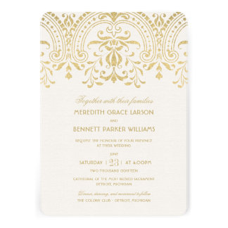 Encanto do vintage do ouro dos convites do casam