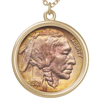 Encanto principal indiano do coletor de moeda do n colar banhado a ouro