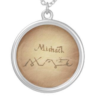 Encantos mágicos da mágica da proteção de Michael Colar Banhado A Prata
