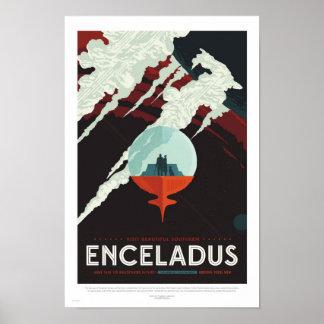Enceladus - poster de viagens retro da NASA