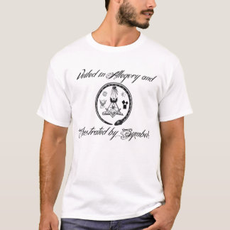 Encoberto na alegoria e ilustrado por símbolos camiseta