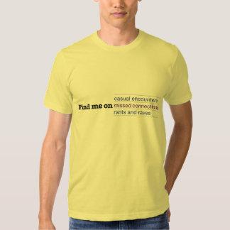 Encontre-me em conexões faltadas camiseta