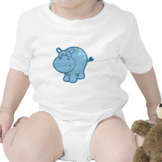 Encontre o hipopótamo azul macacãozinho para bebê