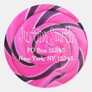Endereço cor-de-rosa do pirulito adesivo em formato redondo