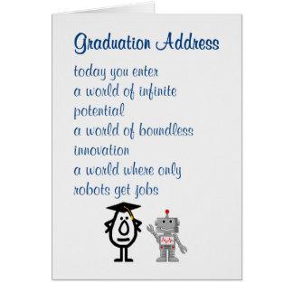 Endereço da graduação - um poema engraçado da cartão comemorativo