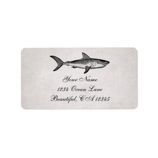 Endereço da praia do oceano do tubarão do vintage etiqueta de endereço