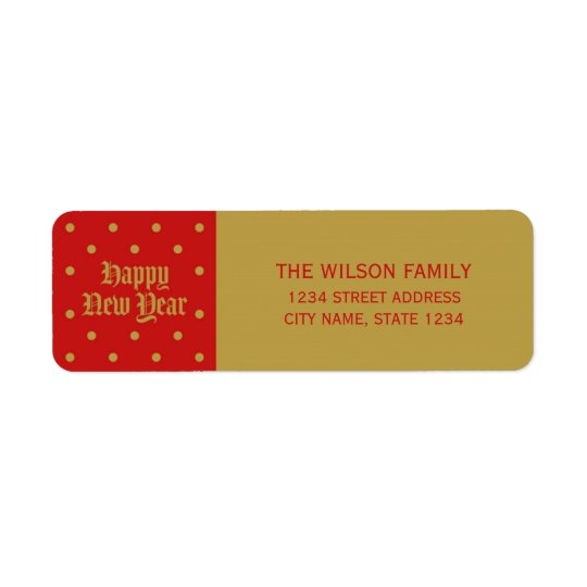 Endereço decorativo clássico vermelho do feliz ano etiqueta endereço de retorno