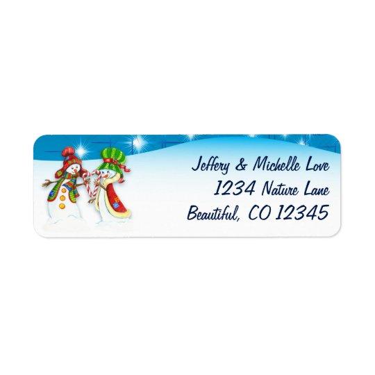 Endereço do feriado de inverno do boneco de neve e etiqueta endereço de retorno