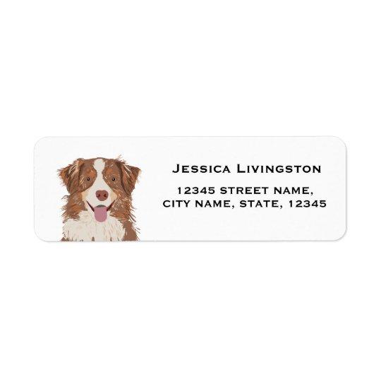 endereço do remetente australiano do pastor do cão etiqueta endereço de retorno