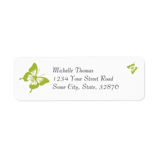 Endereço do remetente branco e verde do casamento etiqueta endereço de retorno