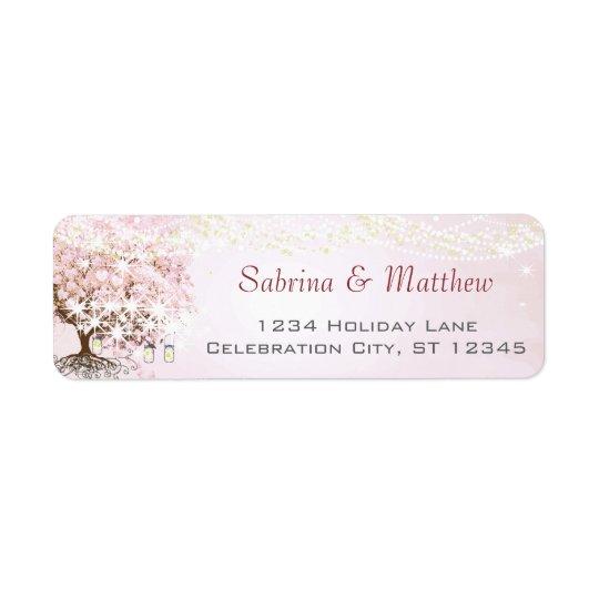 Endereço do remetente cor-de-rosa da árvore da etiqueta endereço de retorno