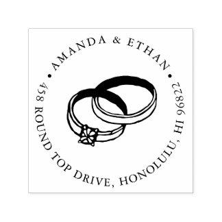 Endereço do remetente das alianças de casamento | carimbo auto entintado