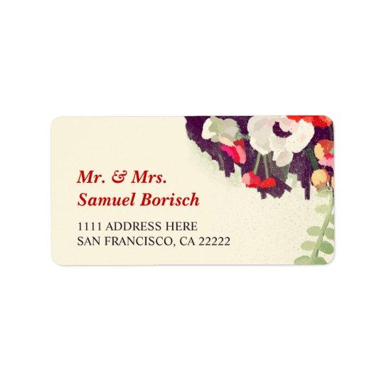 Endereço do remetente floral branco vermelho etiqueta de endereço