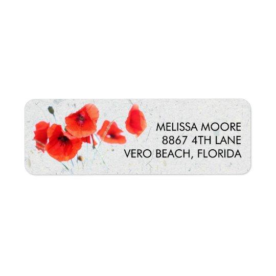 Endereço do remetente floral da papoila vermelha etiqueta endereço de retorno