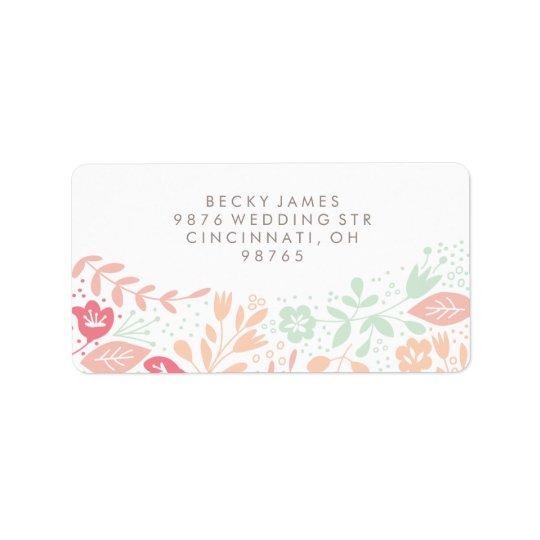 Endereço do remetente floral das etiquetas da etiqueta de endereço