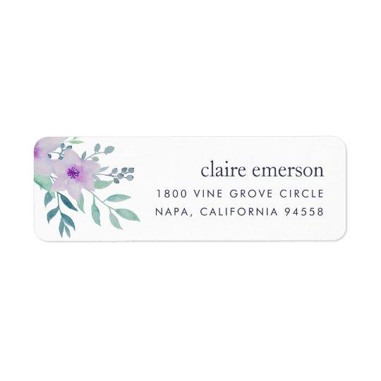 Endereço do remetente floral violeta e prudente etiqueta endereço de retorno