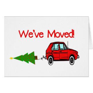 Endereço novo do carro e do Natal da árvore Cartão Comemorativo