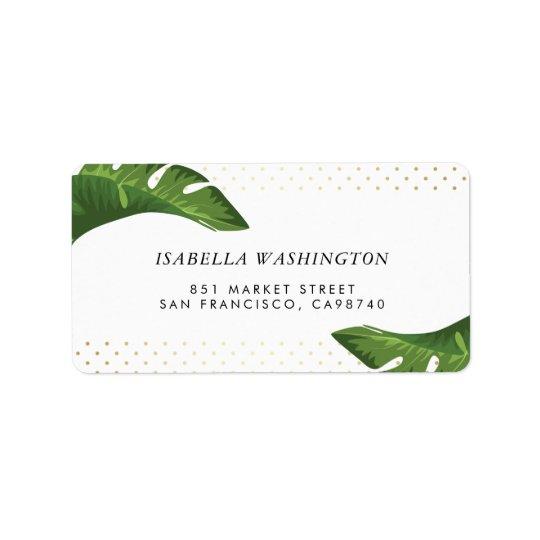 Endereço tropical do casamento das folhas de etiqueta de endereço