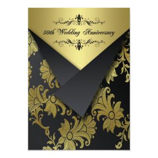 Enegreça, convite floral 2 do aniversário do ouro