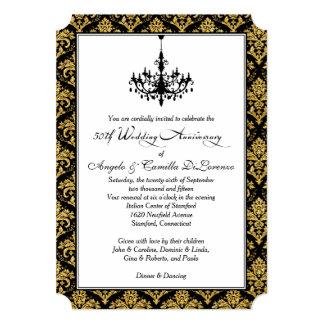 Enegreça, damasco do ouro, aniversário do convite 12.7 x 17.78cm