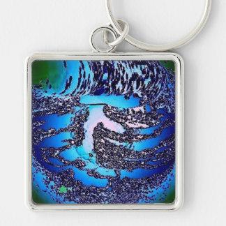 Energia azul - matriz da energia do núcleo chaveiro quadrado na cor prata