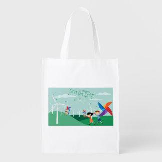 Energia verde para crianças sacolas ecológicas para supermercado