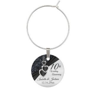 Enfeite De Taças De Vinho 10o Design preto do aniversário de casamento do