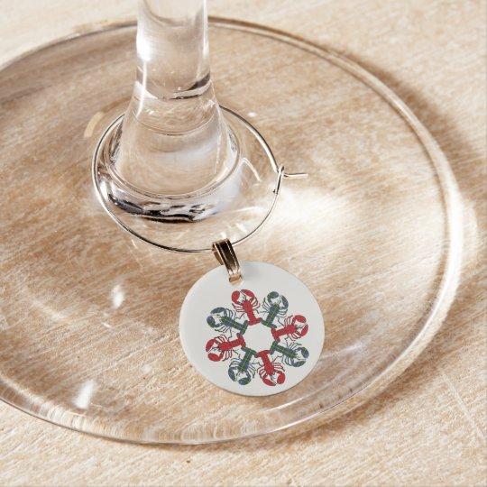 Enfeite De Taças De Vinho Encantos do vinho do Natal do floco de neve