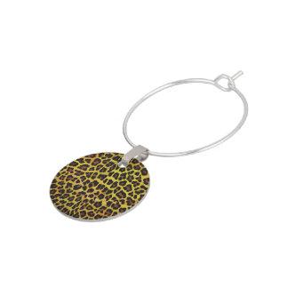 Enfeite De Taças De Vinho Leopardo Brown e impressão amarelo