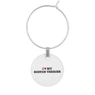 Enfeite De Taças De Vinho Mim coração meu encanto do vinho de Boston Terrier
