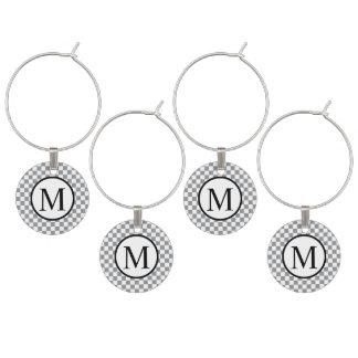 Enfeite De Taças De Vinho Monograma simples com tabuleiro de damas cinzento
