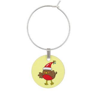 Enfeite De Taças De Vinho Pássaro do pisco de peito vermelho do Feliz Natal