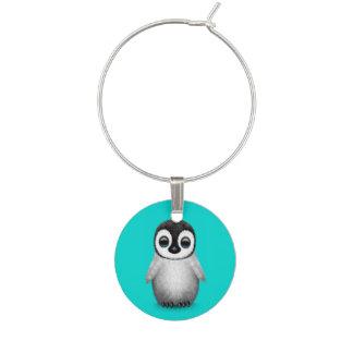 Enfeite De Taças De Vinho Pinguim bonito do bebê na luz - azul