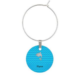 Enfeite De Taças De Vinho Vigas conhecidas personalizadas do azul do