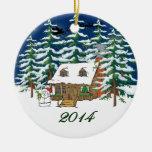 Enfeites de natal 2014 da cabana rústica de madeir