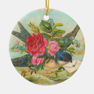 Enfeites de natal azuis do pássaro do Victorian