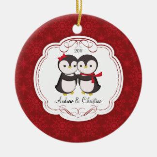 Enfeites de natal bonitos do amor do casal do ping