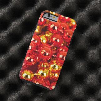 Enfeites de natal brilhantes - vermelho do ouro capa tough para iPhone 6