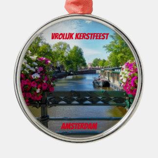 Enfeites de natal cénicos da ponte de Amsterdão