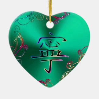 Enfeites de natal chineses do coração da paz do